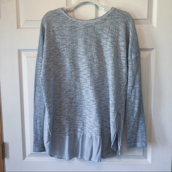 easel Sweaters - Gray Sweater with Ruffle Hem